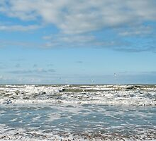 Waves lap the Dutch North Sea Coast between Ijmuiden and Zandvoort. by stuwdamdorp