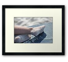 a childs day at the beach Framed Print