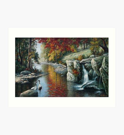 Red Cranes Autumn River nature birds autumn fall waterfowl oil  Art Print