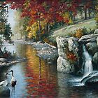 Red Cranes Autumn River nature birds autumn fall waterfowl oil  by Ze Zhao