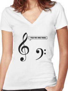 Music Pun Women's Fitted V-Neck T-Shirt