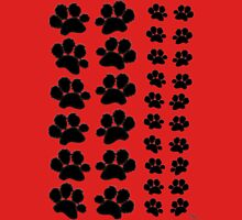 Paw Prints Pattern on Red Unisex T-Shirt