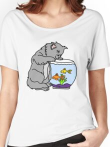 Cat and Fishbowl Women's Relaxed Fit T-Shirt