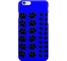 Paw Prints Pattern on Blue iPhone Case/Skin