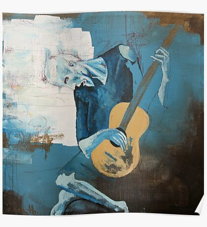 The Old Guitarist: A Picasso Study Poster