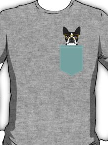 Darby - Boston Terrier pet design with hipster glasses in bold and modern colors for pet lovers T-Shirt
