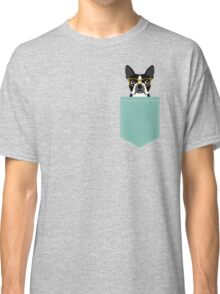 Darby - Boston Terrier pet design with hipster glasses in bold and modern colors for pet lovers Classic T-Shirt