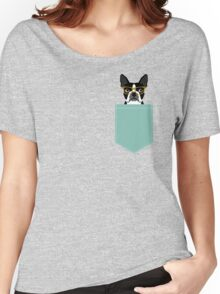 Darby - Boston Terrier pet design with hipster glasses in bold and modern colors for pet lovers Women's Relaxed Fit T-Shirt