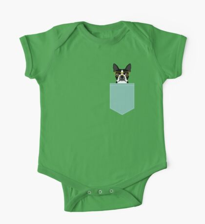 Darby - Boston Terrier pet design with hipster glasses in bold and modern colors for pet lovers One Piece - Short Sleeve