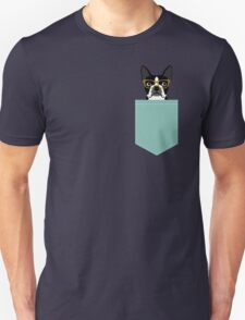 Darby - Boston Terrier pet design with hipster glasses in bold and modern colors for pet lovers Unisex T-Shirt