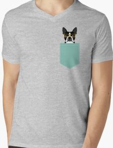 Darby - Boston Terrier pet design with hipster glasses in bold and modern colors for pet lovers Mens V-Neck T-Shirt