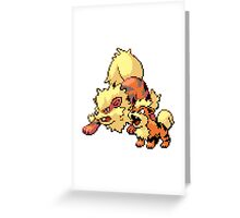 Arcanine and Growlithe - pixel art Greeting Card