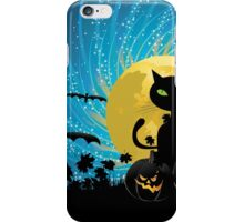 Halloween party background with cat iPhone Case/Skin
