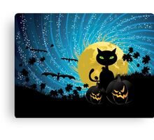 Halloween party background with cat Canvas Print