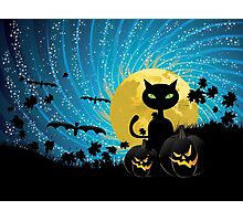 Halloween party background with cat Photographic Print