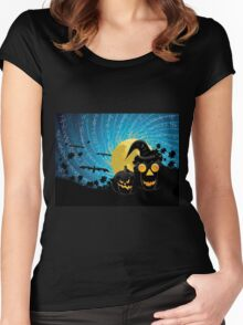 Halloween party background with pumpkins Women's Fitted Scoop T-Shirt