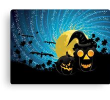 Halloween party background with pumpkins Canvas Print