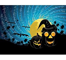 Halloween party background with pumpkins Photographic Print