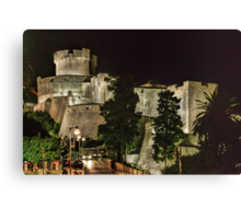 Dubrovnic Fortress and walls at night Canvas Print