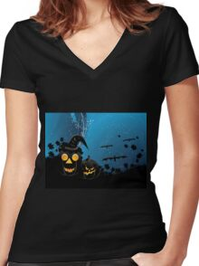 Halloween party background with pumpkins 3 Women's Fitted V-Neck T-Shirt