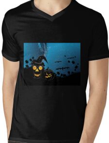 Halloween party background with pumpkins 3 Mens V-Neck T-Shirt