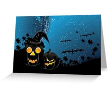 Halloween party background with pumpkins 3 Greeting Card