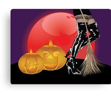 Halloween party background with pumpkins 4 Canvas Print