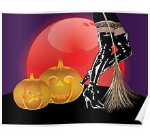Halloween party background with pumpkins 4 Poster