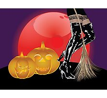 Halloween party background with pumpkins 4 Photographic Print