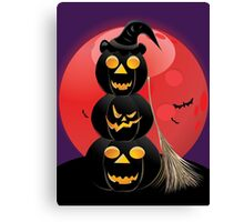 Halloween party background with pumpkins 5 Canvas Print