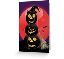 Halloween party background with pumpkins 5 Greeting Card