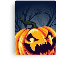 Halloween Pumpkin in the Forest Canvas Print