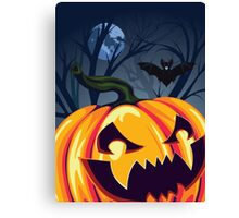 Halloween Pumpkin in the Forest 2 Canvas Print