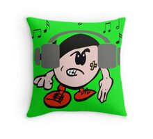 Mr Music listening on his headphones Throw Pillow