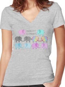 Equality elephants Women's Fitted V-Neck T-Shirt