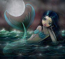 Moonlit Creek Mermaid Fantasy Art by Molly Harrison by Molly  Harrison