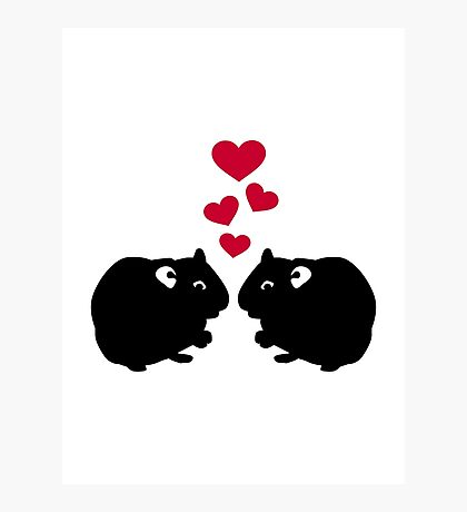 Hamster love red hearts Photographic Print