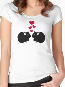 Hamster love red hearts Women's Fitted Scoop T-Shirt