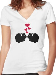 Hamster love red hearts Women's Fitted V-Neck T-Shirt