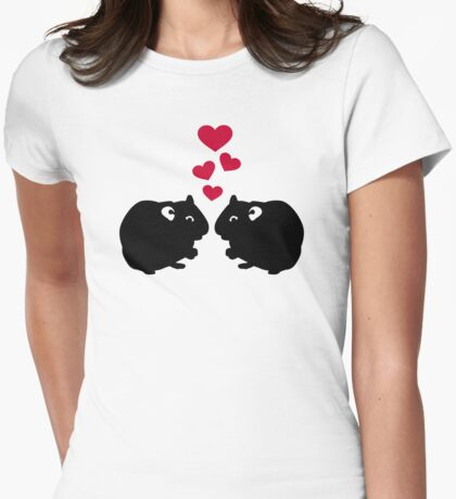 Hamster love red hearts Womens Fitted T-Shirt
