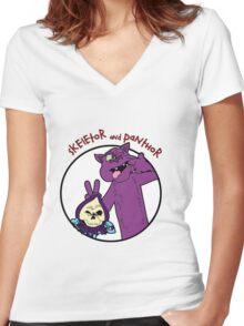 Skeletor and Panthor Women's Fitted V-Neck T-Shirt