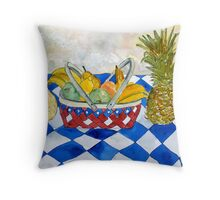fruit basket still life 5  Throw Pillow