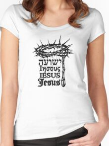 """What In Jesus' Name?!"" Woodcut Women's Fitted Scoop T-Shirt"