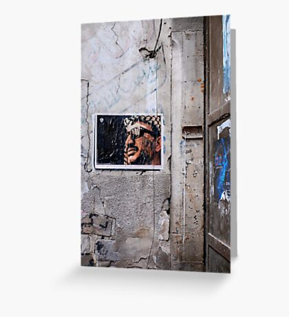 Arafat Poster on a Damascus Street Greeting Card