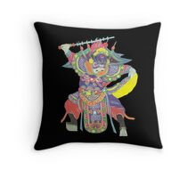 china warrior black Throw Pillow