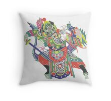 china warrior and dragon Throw Pillow