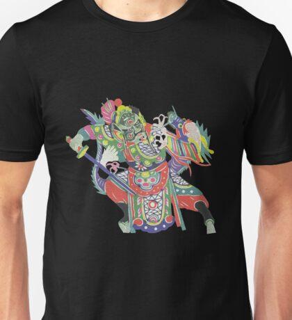 china warrior and dragon black Unisex T-Shirt