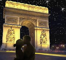 Romantic star lit sky in Paris by happyphotos