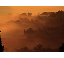 San Giminiano in the Morning Mists Photographic Print