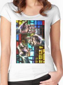 Three Hands on Stain Glass Women's Fitted Scoop T-Shirt